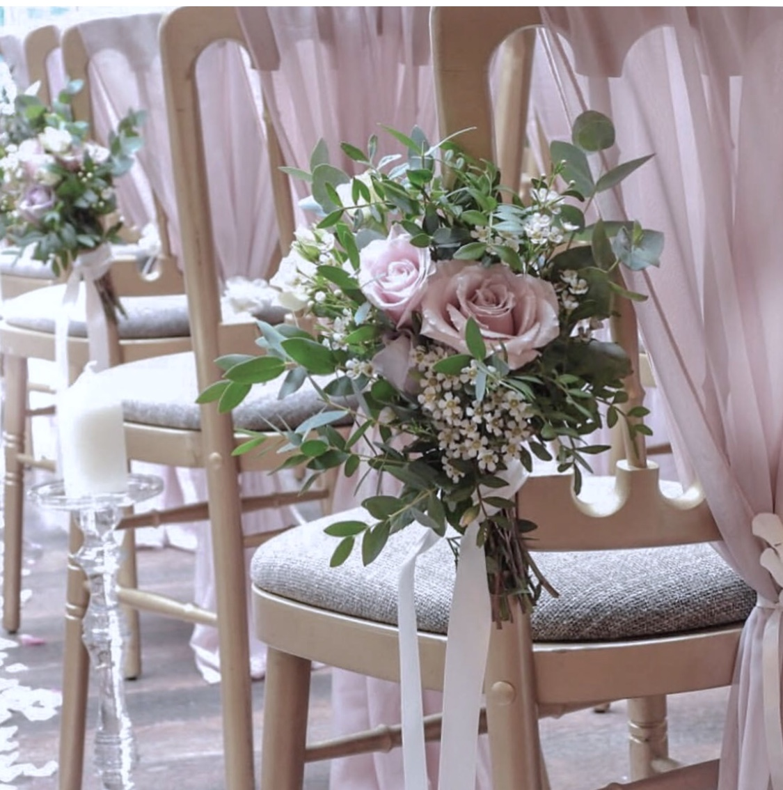 Wedding floral chair decor