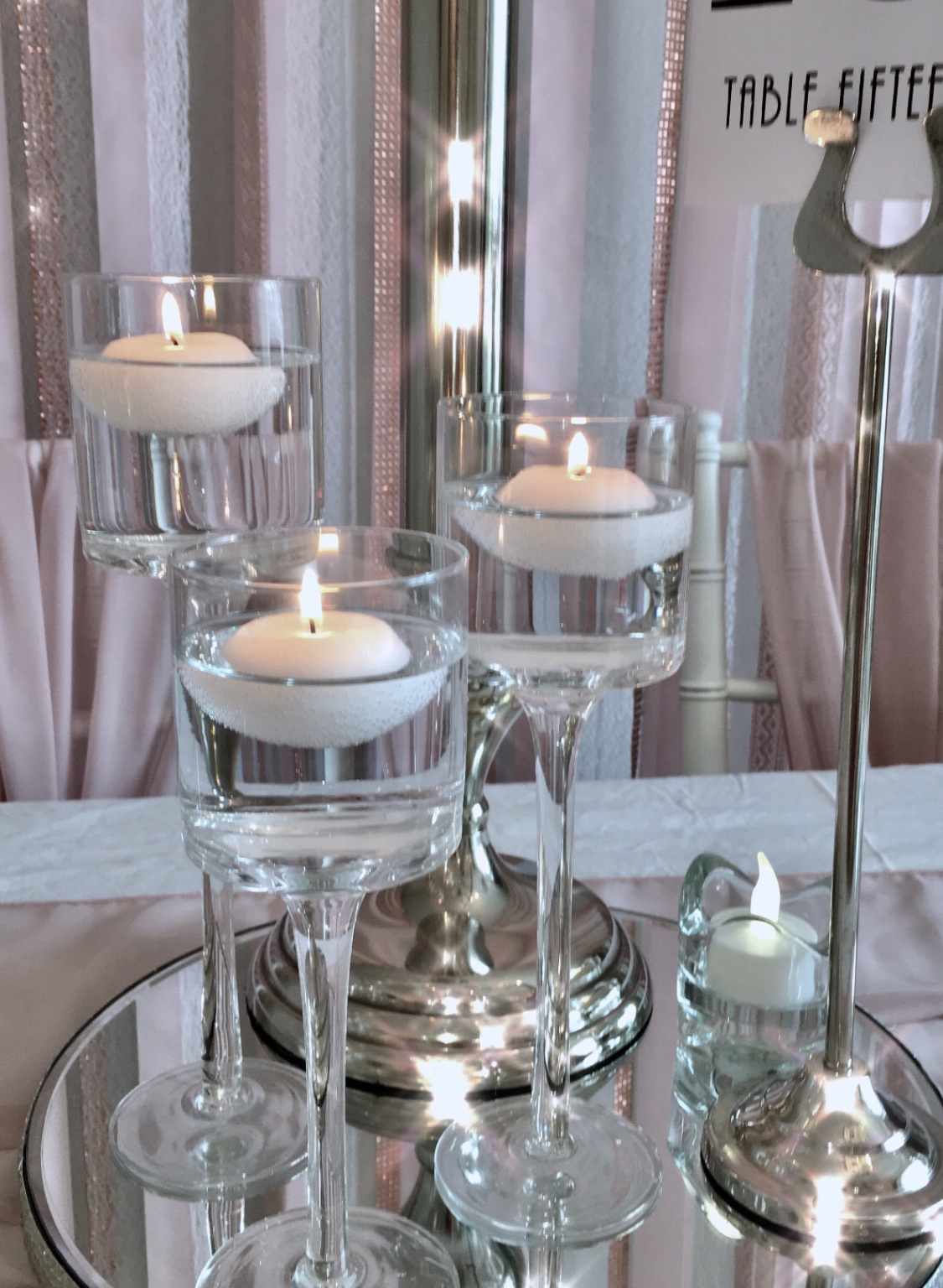 Tall glass floating candle holders
