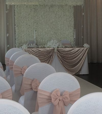 blush pink linen chair sash