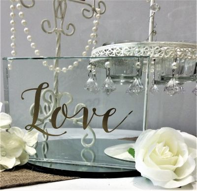 Glass love sign