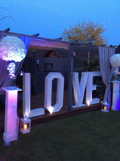 Large floral love lights